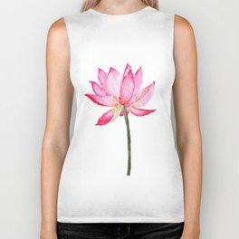 pink lotus flower Biker Tank