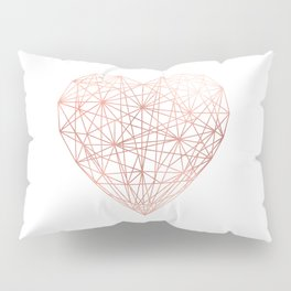 Rose Gold Geometric Heart Pillow Sham