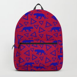 Wild African walking blue lioness silhouettes and abstract triangle shapes. Stylish whimsical ethnic tribal dark red retro vintage geometric animal nature pattern. Backpack