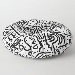 Street Art Graffiti Love Black and White Floor Pillow