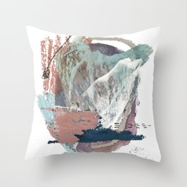 In the Clouds: a minimal mixed media piece in blues, pinks, white, and purple Throw Pillow
