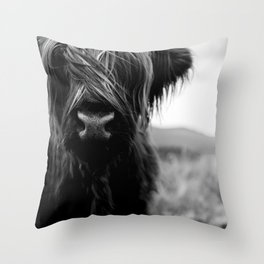 Scottish Highland Cattle Baby - Black and White Animal Photography Throw Pillow