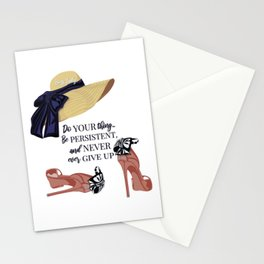 Elegant high heels with a hat illustration with motivational quotes Stationery Cards