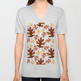 Rust, Brown, Red Orange Oak Leaf Repeated Textile Design 1 Unisex V-Neck