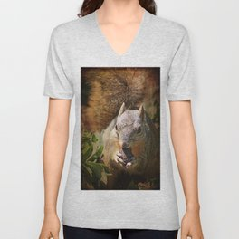 Autumn Squirrel at Lunch Unisex V-Neck