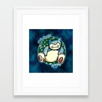 snorlax Framed Art Prints featuring 142 - Snorlax by Lyxy