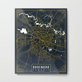 Bucharest City Map Romania - Gold Art Deco Metal Print