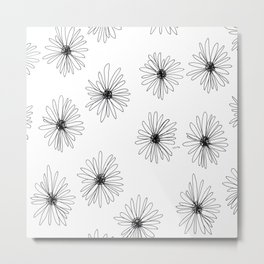 Bloom Your Love no.8 - black and white flower illustration pattern Metal Print