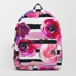 Bold Stripes and Florals Backpack