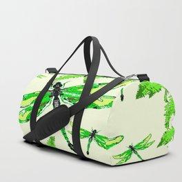 TROPICAL FERNS & EMERALD GREEN  SWAMP DRAGONFLIES Duffle Bag