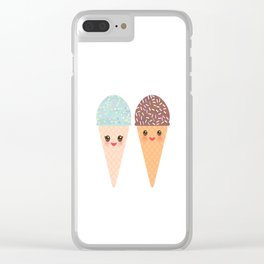 Ice cream waffle cone Kawaii funny muzzle with pink cheeks and winking eyes, pastel colors Clear iPhone Case