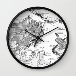 Vintage Map of Havana Cuba (1898) 2 BW Wall Clock