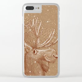 Moose Christmas Clear iPhone Case
