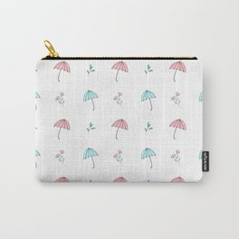 Modern hand drawn pastel pink teal floral umbrella pattern Carry-All Pouch