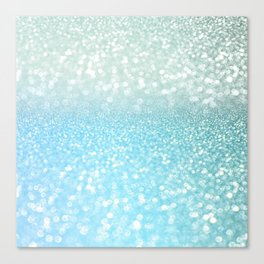 Mermaid Sea Foam Ocean Ombre Glitter Canvas Print