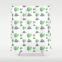 Dreaming Puppy - Green Watercolor Shower Curtain