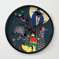 teen titans Wall Clocks featuring Teen Titans by Fuacka