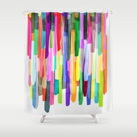will graham Shower Curtains featuring Colorful Stripes 4 by Mareike Böhmer