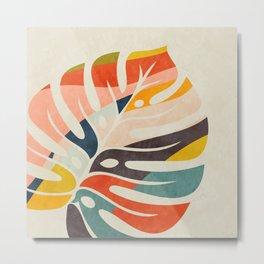 shape leave modern mid century Metal Print