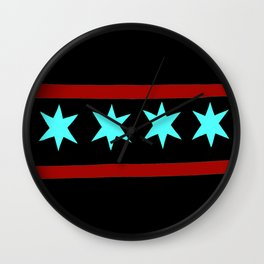 Chicago Flag (traditional) Wall Clock
