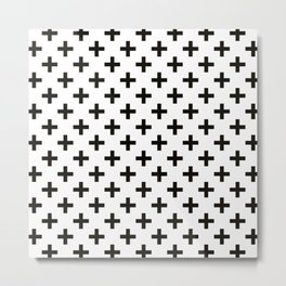 Crosses   Criss Cross   Plus Sign   Hygge   Scandi   Black and White   Metal Print