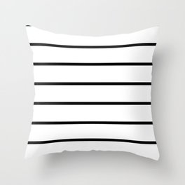 Black and White Stripes - Thin Black Wide White Throw Pillow
