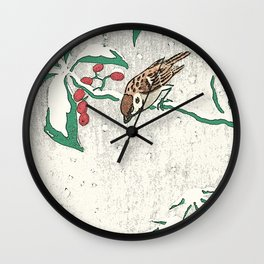 Christmas card detail 2 snow sparrows Wall Clock