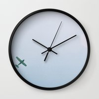 plane Wall Clocks featuring Plane by Froggybangbang