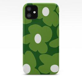 Spring Green Retro Flowers Dark Green Background #decor #society6 #buyart iPhone Case