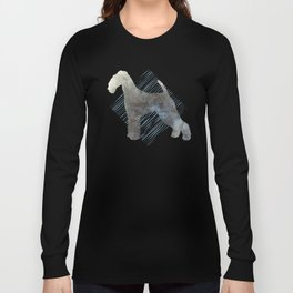 Modern Airedale Terrier Dog Watercolor Stripes Long Sleeve T-shirt
