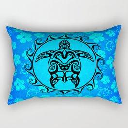 Black Tribal Turtle And Hibiscus Rectangular Pillow