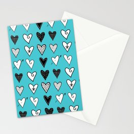 Baby Blue Heart Doodles Stationery Cards
