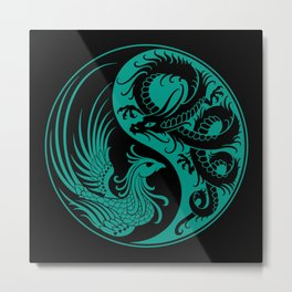 Teal Blue and Black Dragon Phoenix Yin Yang Metal Print