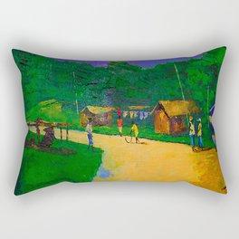African Village Scenery Rectangular Pillow