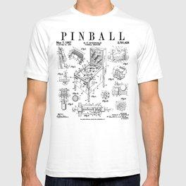 Pinball Arcade Gaming Machine Vintage Gamer Patent Print T-shirt