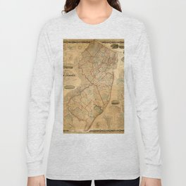 Map Of New Jersey 1860 Long Sleeve T-shirt