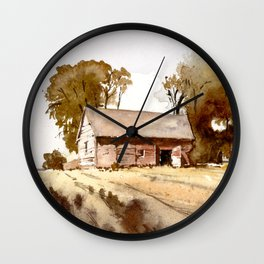 Lonely house on a hillfarm Wall Clock