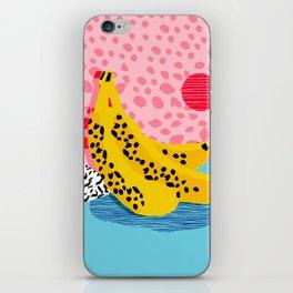 What It Is - memphis throwback banana fruit retro minimal pattern neon bright 1980s 80s style art iPhone Skin
