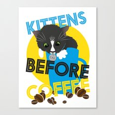 Kittens Before Coffee Canvas Print