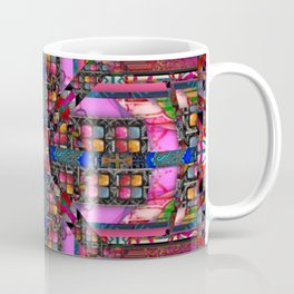 no. 257 pink green multicolored pattern with blue Coffee Mug