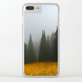Olive Green Pines Clear iPhone Case