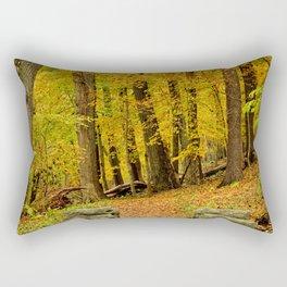 Hike In Autumn Woods Rectangular Pillow