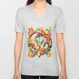 Autumn Flowers and Leaves Unisex V-Neck