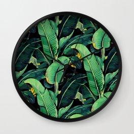 Watercolor banana leaves night pattern Wall Clock
