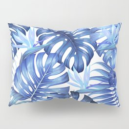Blue tropical pattern  (monstera leaves and bird of paradise flowers Pillow Sham