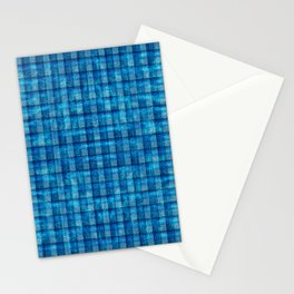 Ocean Blue and Pale Velvety Gingham Plaid Texture Stationery Cards