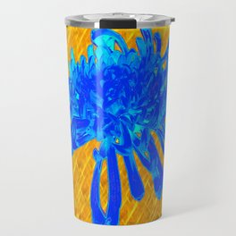 ABSTRACT BABY BLUE SPIDER MUM ON GOLD PATTERN FLOWERS Travel Mug