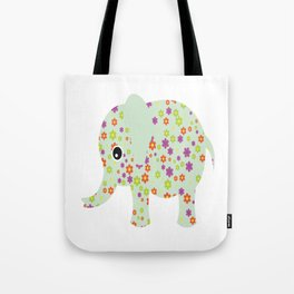cute floral elephant Tote Bag