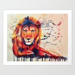 Quiet Ferocity - Original Lion Painting Art Print