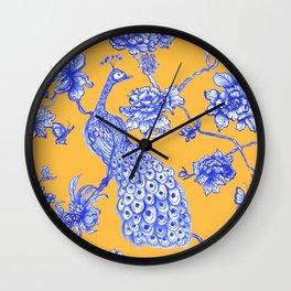 Chinoiserie Peacock Golden Yellow Wall Clock